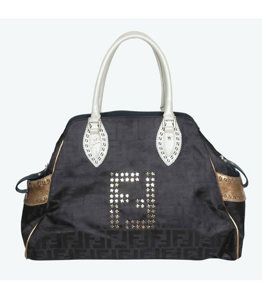 Fendi Large Studded Black Tote Bag with Bronze Leather