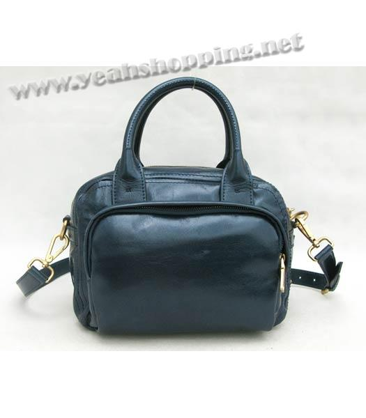 Prada Oil Wax Leather Message Tote Bag Blue-1