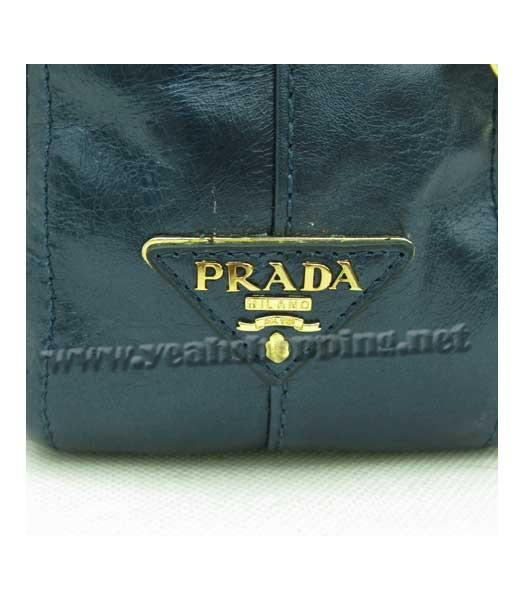 Prada Oil Wax Leather Message Tote Bag Blue-6
