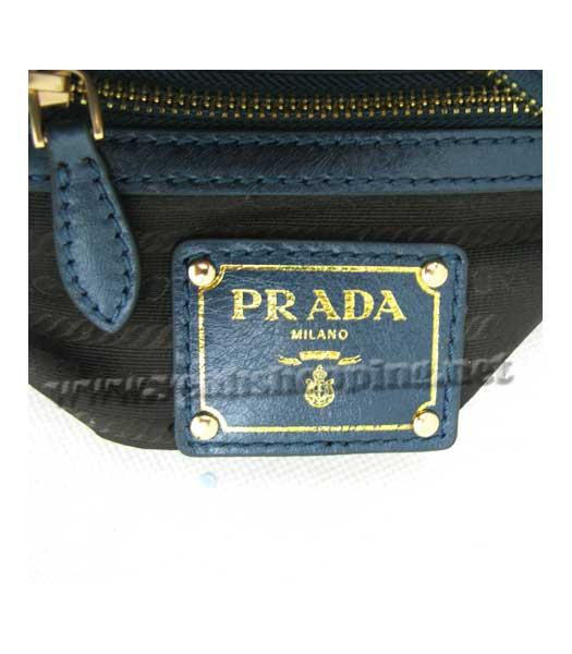Prada Oil Wax Leather Message Tote Bag Blue-7