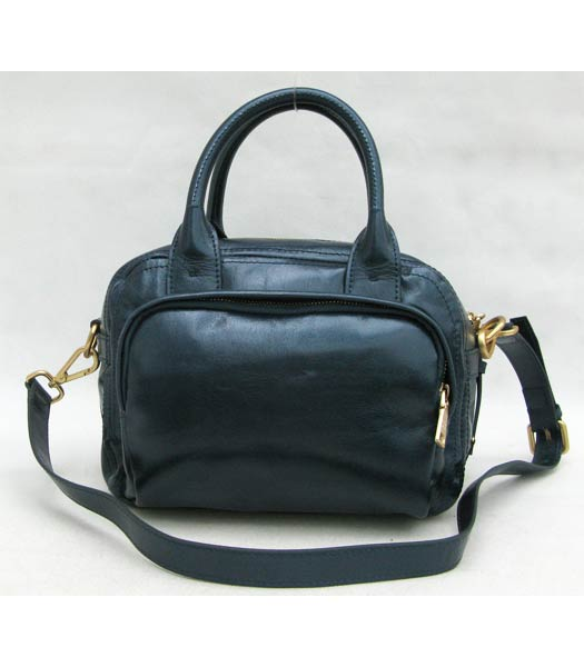 Prada Oil Wax Leather Message Tote Bag Blue