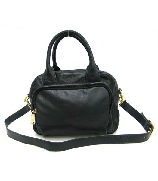 Prada Oil Wax Leather Message Tote Bag Black