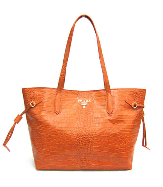 Prada Croco Veins Leather Saffiano Tote Bag Orange