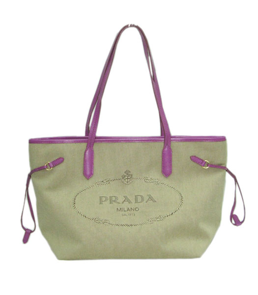 Prada Apricot Canvas with Purple Leather Tote Bag