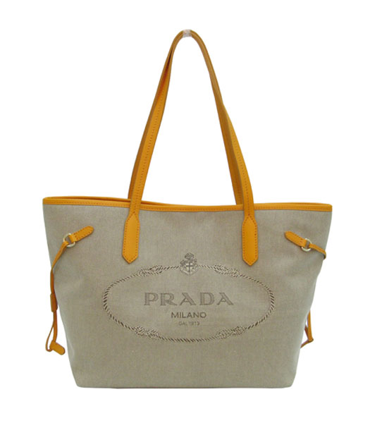 Prada Apricot Canvas with Yellow Leather Tote Bag