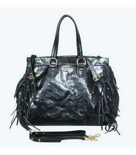 Miu Miu Medium Shiny Leather Tote Tassel Bag Black
