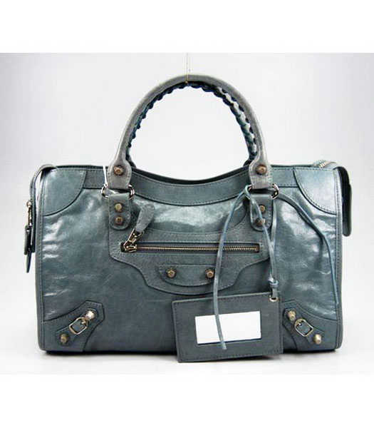 Balenciaga City Bag in Blue Oil Leather