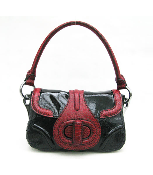Prada Small Tote Bag Black Calfskin with Red Croc Veins