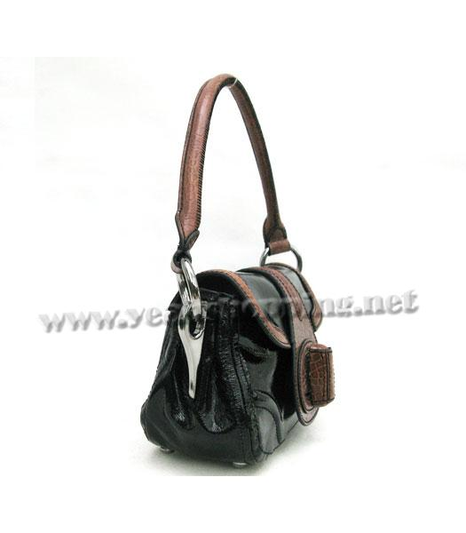 Prada Small Tote Bag Black Calfskin with Coffee Croc Veins-2