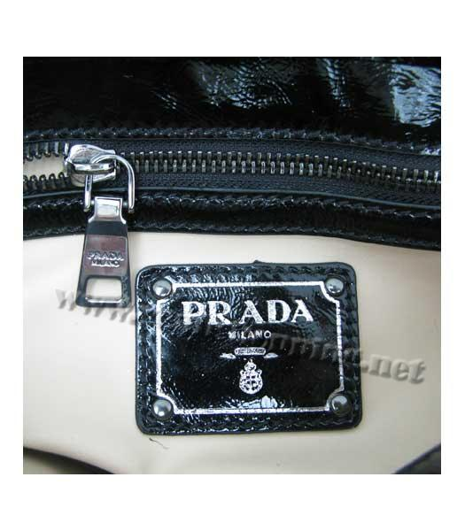 Prada Small Tote Bag Black Calfskin with Coffee Croc Veins-5
