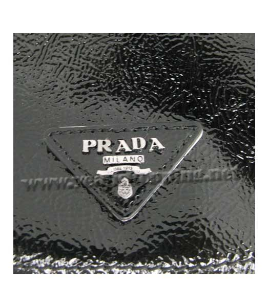 Prada Small Tote Bag Black Calfskin with Coffee Croc Veins-7