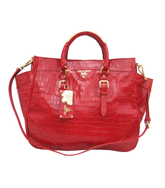 Prada Vitello Daino Tote Bag Red