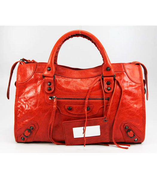 Balenciaga Giant City Handbag in Orange Lambskin