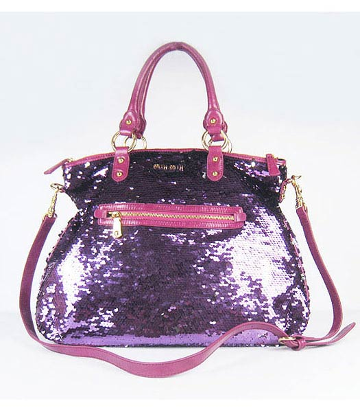 Miu Miu Sequined Lambskin Leather Tote Bag Fuchsia