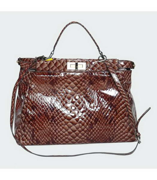 Fendi Patent Snake Leather Shoulder Bag Coffee