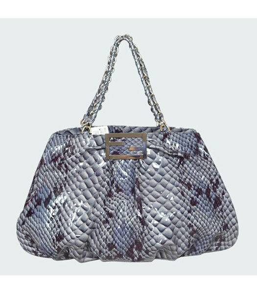 Fendi Snake Veins Leather Tote Bag Blue
