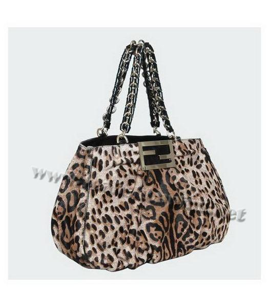 Fendi White Leopard Pattern Horsehair Tote Bag-1