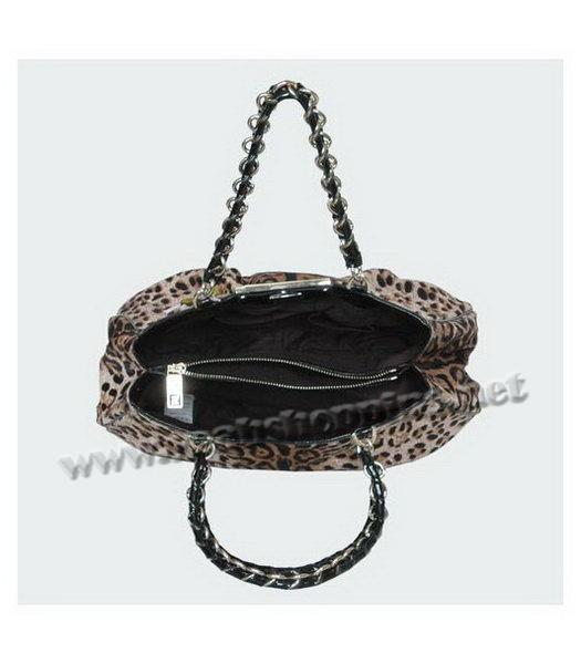 Fendi White Leopard Pattern Horsehair Tote Bag-4