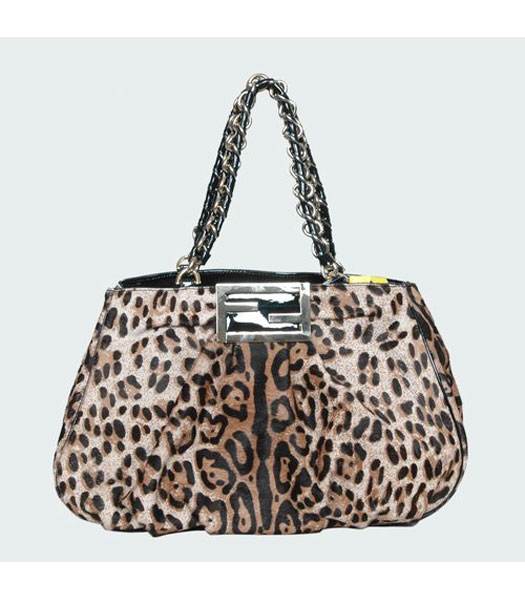 Fendi White Leopard Pattern Horsehair Tote Bag