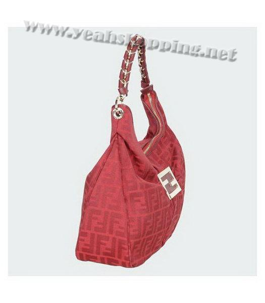 Fendi FF Canvas Tote Bag with Red Leather Trim-1