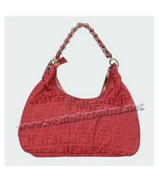 Fendi FF Canvas Tote Bag with Red Leather Trim-2