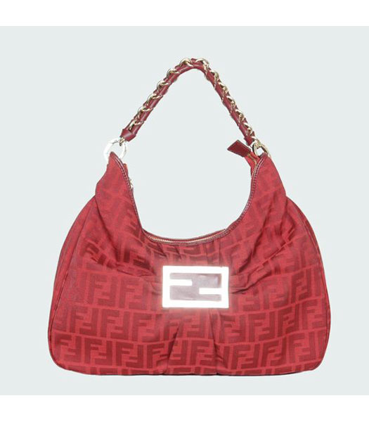 Fendi FF Canvas Tote Bag with Red Leather Trim