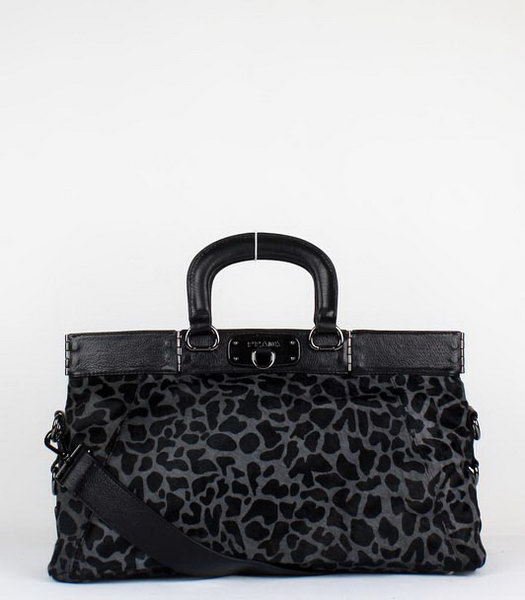 Prada Leopard Pattern Horsehair Tote Bag Dark Grey