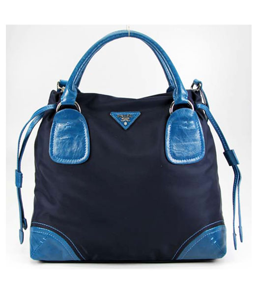 Prada Nylon Bag with Leather Trim Blue