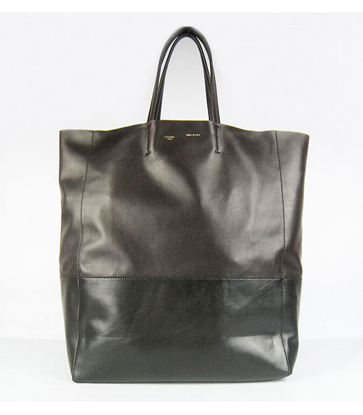 Celine Lambskin Tote Bag Coffee with Black Leather