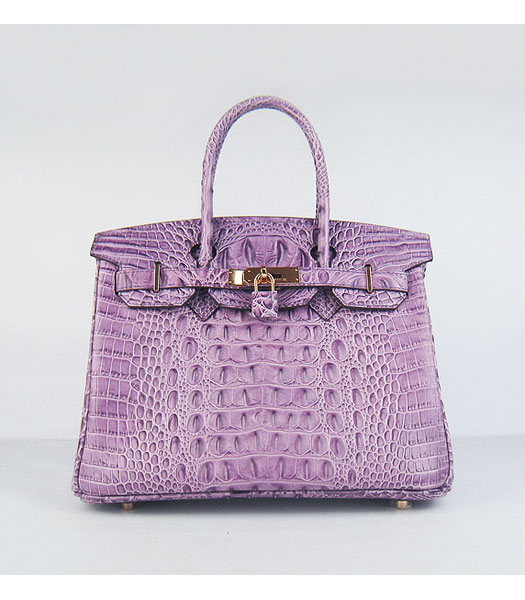 Hermes Birkin 30CM Handbag Croc Head Veins Purple Leather Silver Metal