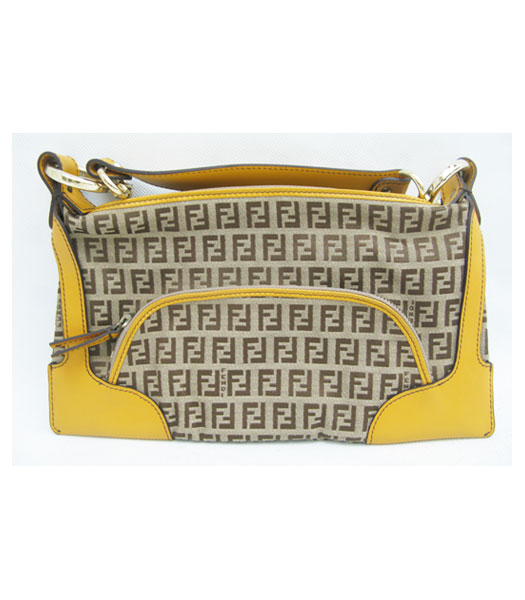 Fendi Canvas Shoulder Bag with Yellow Leather Trim Limited Edition