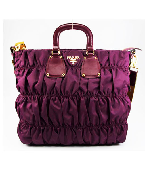 Prada Nylon Gaufre Tote Bag Purple