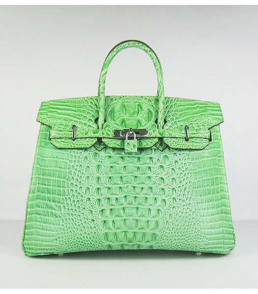 Hermes Birkin 35cm Bag Green Croc Head Veins Leather Silver Metal