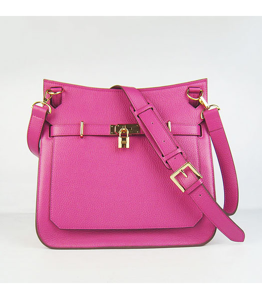 Hermes 34cm Unisex Jypsiere Togo Leather Bag Fuchsia with Golden Metal