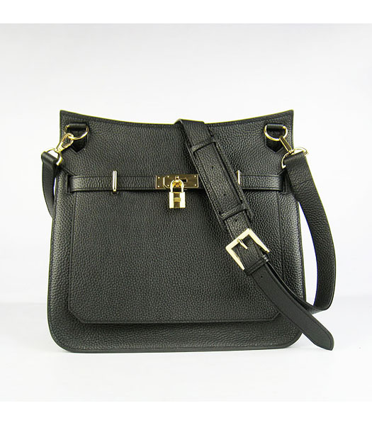 Hermes 34cm Unisex Jypsiere Togo Leather Bag Black with Golden Metal