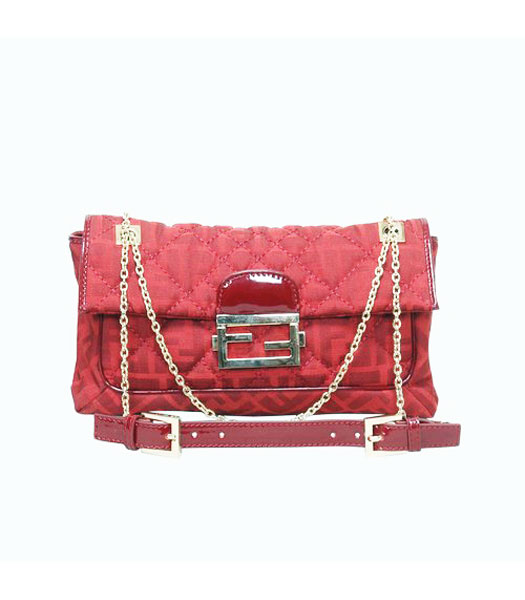 Fendi Canvas Chain Bag with Patent Leather Trim Red