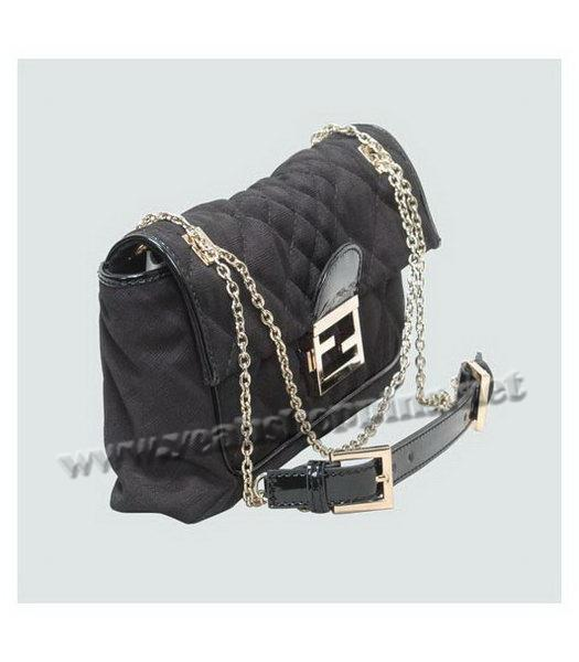 Fendi Black Canvas Chain Bag with Patent Leather Trim-2