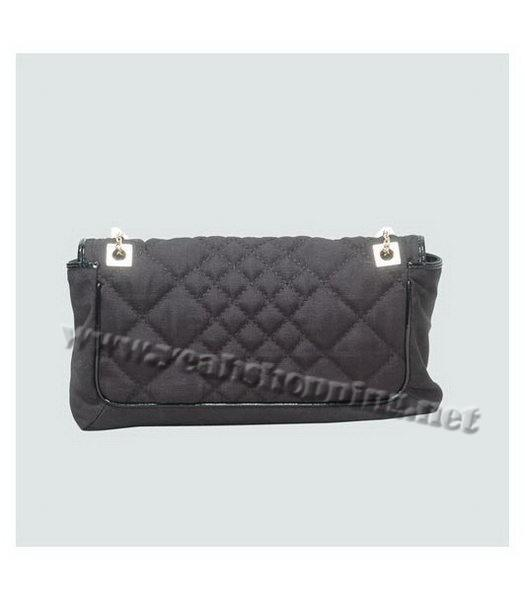 Fendi Black Canvas Chain Bag with Patent Leather Trim-3
