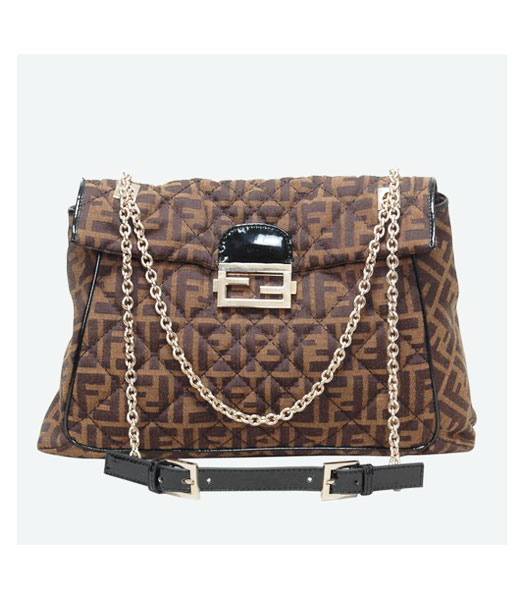 Fendi Coffee Canvas Chain Bag with Patent Leather Trim Black