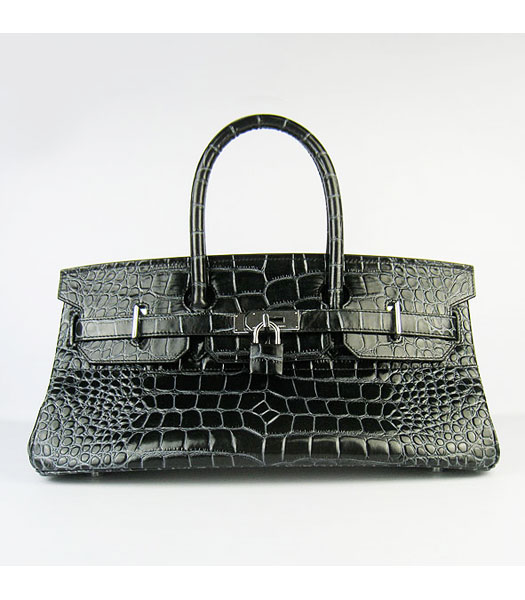 Hermes Birkin 42cm Black Croc Veins Leather Silver Metal