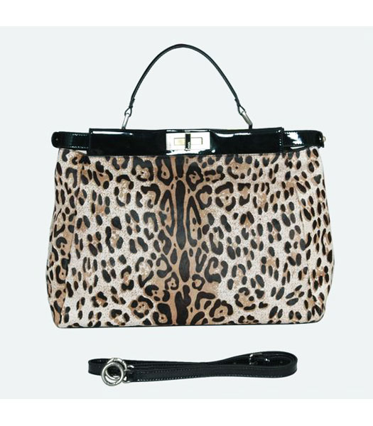 Fend Tote Bag White Leopard Veins Hairs with Leather Trim