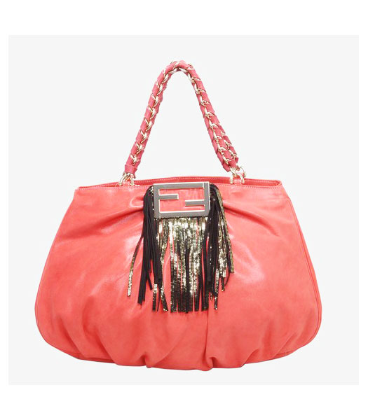 Fendi Leather Tote Bag Red with Black Tassel
