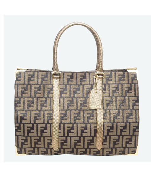 Fendi F Canvas Tote Bag with Golden Leather Trim