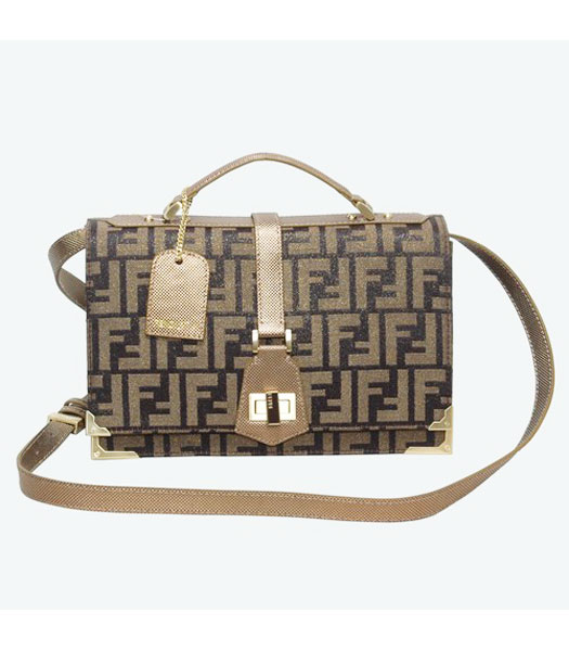 Fendi F Canvas Messenger Bag with Golden Leather Trim