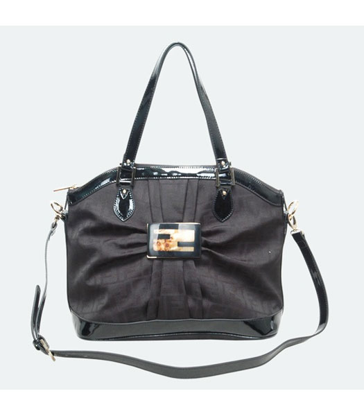 Fendi Black F Canvas Shoulder Bag with Patent Leather Trim