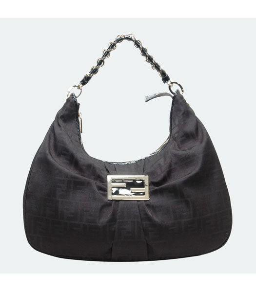 Fendi Large F Canvas Tote Bag with Black Leather Trim