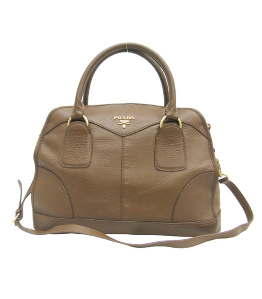 Prada Shiny Deerskin Top Handle Hazelnut Handbag Light Coffee