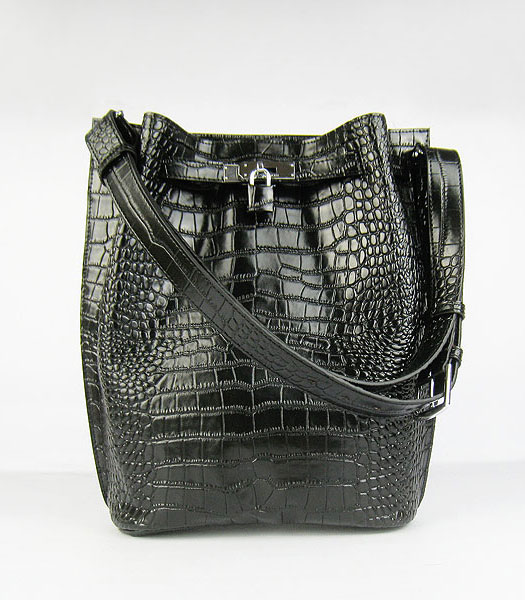 Hermes So Kelly 24cm Bag Black Croc Leather Silver Metal