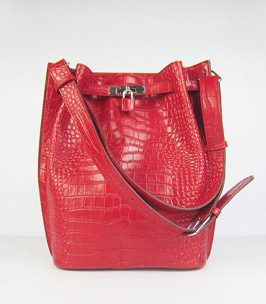 Hermes So Kelly 24cm Bag Red Croc Leather Silver Metal