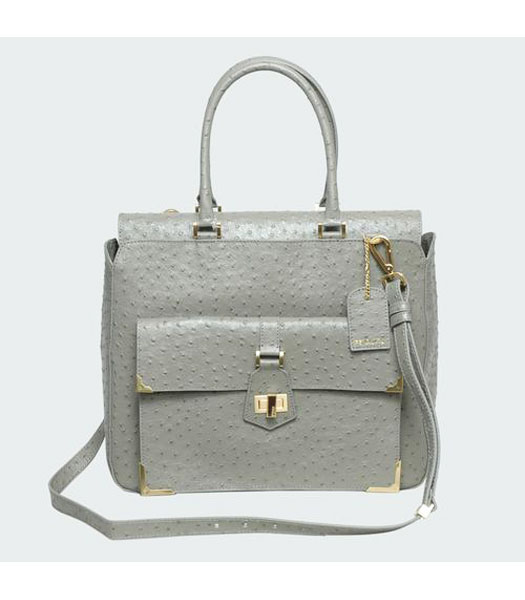 Fendi Ostrich Veins Leather Tote Bag Light Grey